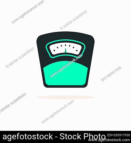 Weight scale. Icon with shadow on a beige background. Pharmacy flat vector illustration