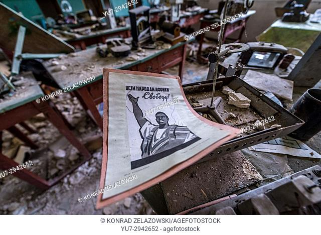 """""""""""Peace for all the Nations of Africa"""" poster in secondary school in Mashevo village of Chernobyl Nuclear Power Plant Zone of Alienation in Ukraine"