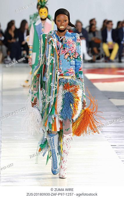 September 30, 2018 - Paris, France - Thom Browne. - Model On Catwalk, Woman Women, Paris Fashion Week 2019 Ready To Wear For Spring Summer, Defile