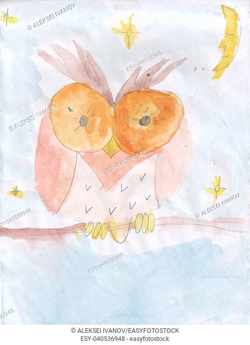 Child's drawing - Owl on a branch