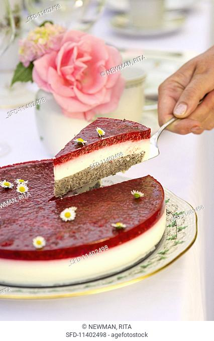 Raspberry and yoghurt cake decorated with daisies; slice being lifted on cake server