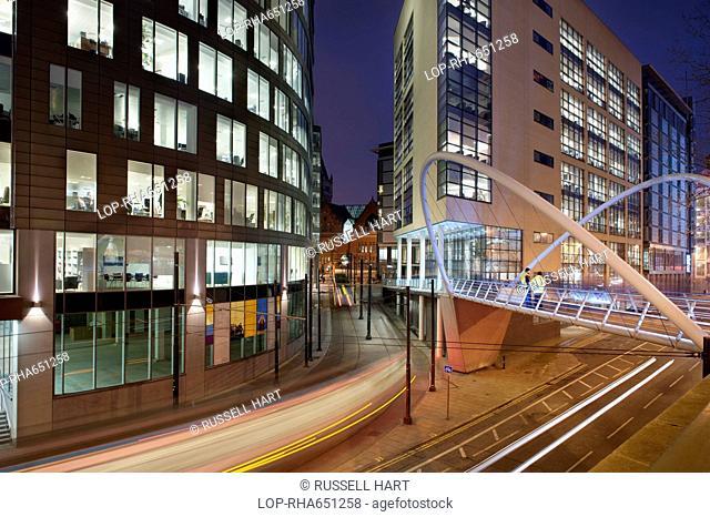 A pedestrian bridge near to Piccadilly railway station