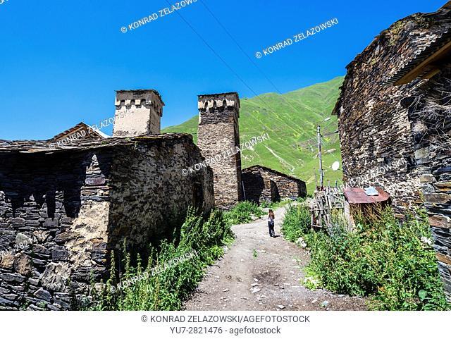 Svan towers in Zhibiani - one of four villages of Ushguli community at end of Enguri gorge, Upper Svaneti, Georgia