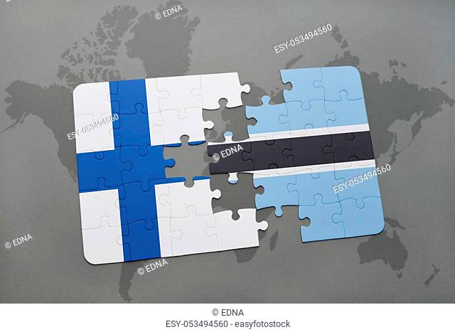 puzzle with the national flag of finland and botswana on a world map background. 3D illustration
