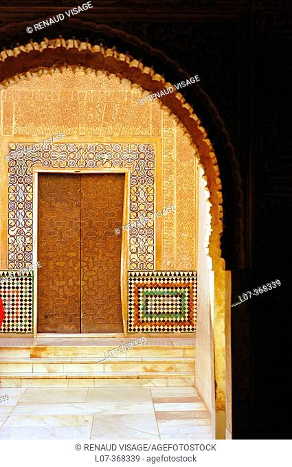View of doorway through archway in the Alhambra. Granada. Andalucia. Spain