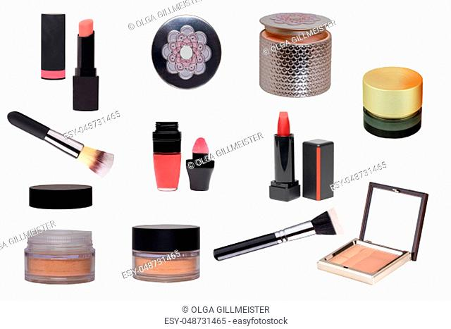 Cosmetic products. Collage Set or collection of cosmetic and beauty products isolated on a white background. Woman accessories