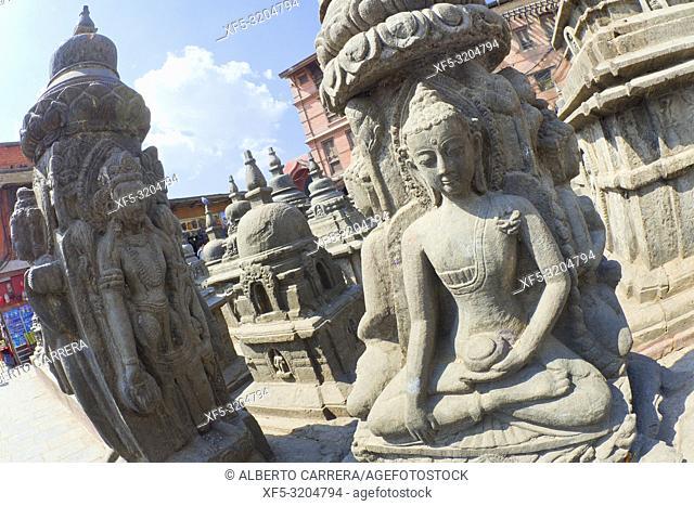 Buddhist Sculpture, Swayambhunath Temple, Monkey Temple, UNESCO World Heritage Siite, Kathmandu, Nepal, Asia