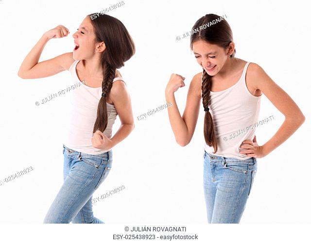 Collage of a young girl celebrating a victory. Isolated on white