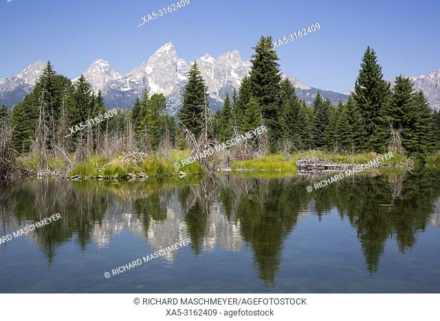 Teton Range from Schwabache Landing, Grand Teton National Park, Wyoming, USA