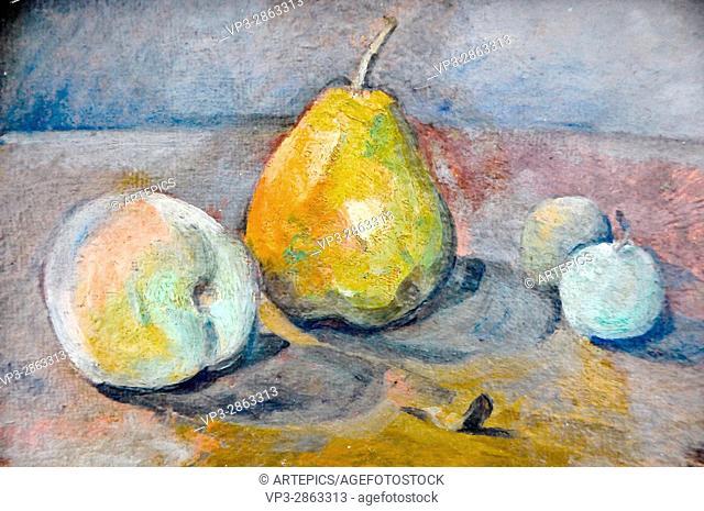 Paul Cezanne . Nature morte, poire et pommes vertes. 1873 . Musée de l'Orangerie - Paris