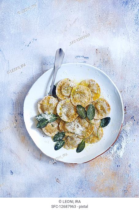 Ravioli with sage butter and parmesan