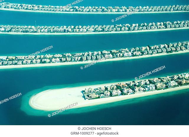 Aerial view of residential villa on Palm Jumeirah, Dubai, UAE