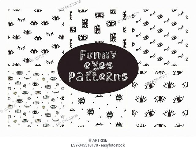 Vector hand drawn seamless patterns collection with funny open and winking eyes, isolated on white