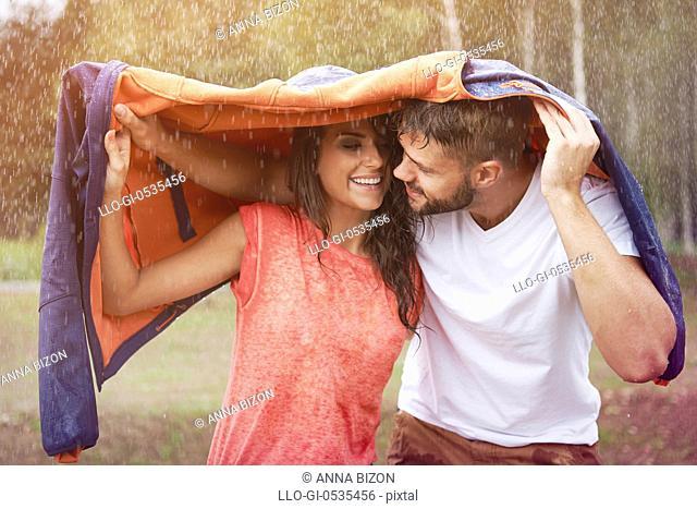 Romantic time in the rain. Debica, Poland