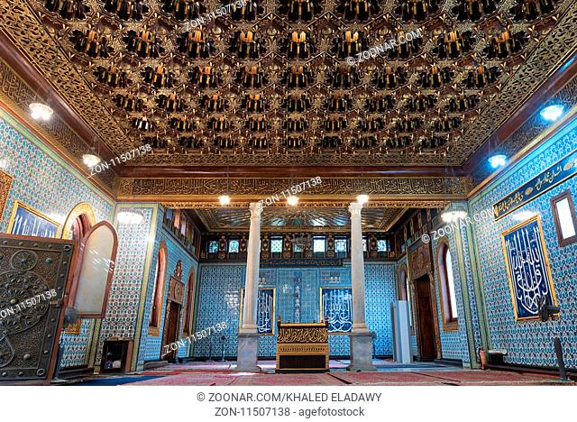 Interior of public mosque of Manial Palace of Prince Mohammed Ali Tewfik with wooden golden ornate ceilings, Cairo, Egypt