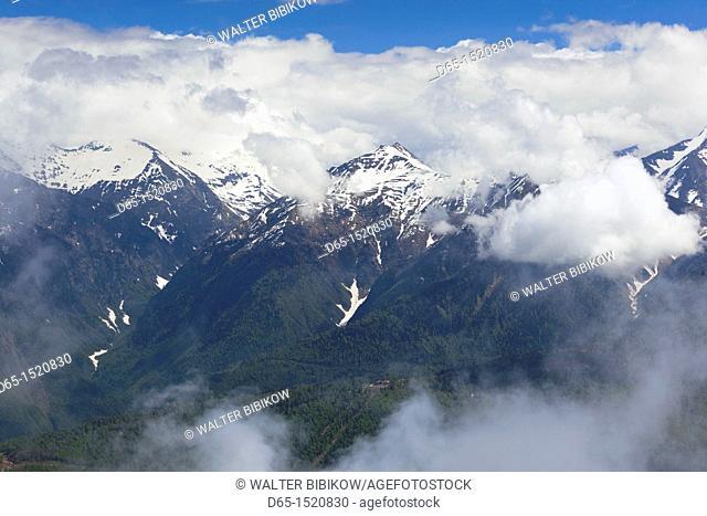 Russia, Caucasus Mountains, Sochi Area, Krasnaya Polyana, Carousel Mountain, mountain landscape, summer