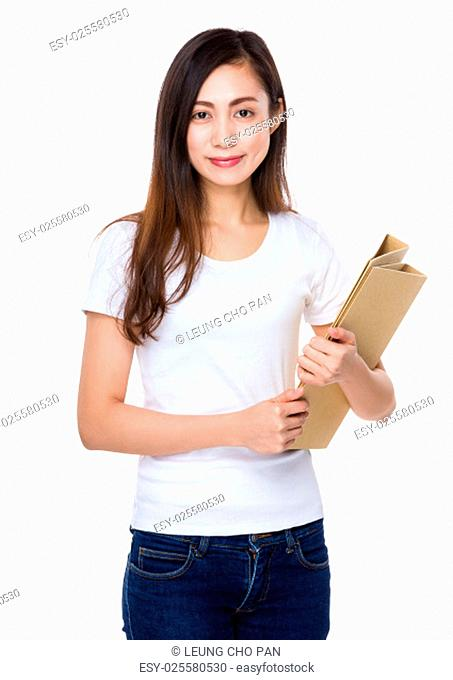 Young student hold with folder