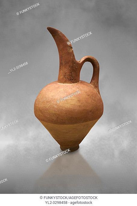 Hittite terra cotta beak spout pitcher. Hittite Old Period, 1650 - 1450 BC. Hattusa BoÄŸazkale. Çorum Archaeological Museum, Corum, Turkey