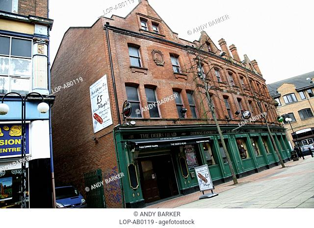 Northern Ireland, Belfast, Belfast, An exterior view of a traditional Belfast pub
