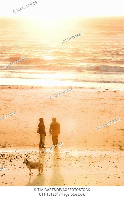 couple walking dog, Cleveleys, lancashire, blackpool fylde, coast, england, uk, europe