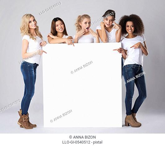 Multi-ethnic group of women with empty whiteboard. Debica, Poland