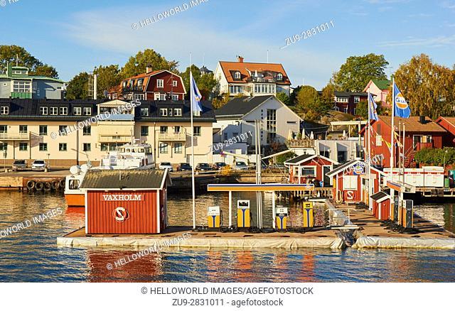 Petrol station, Vaxholm, Sweden, Scandinavia