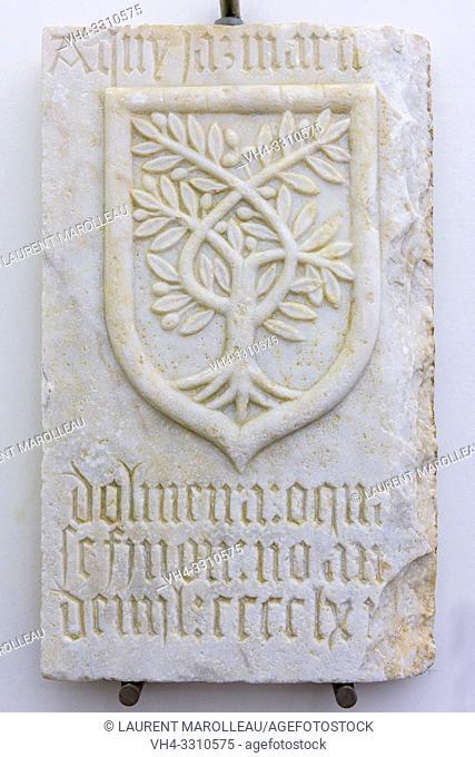 Tombstone of Martim de Oliveira, Marble (1468) from Cathedral of Evora, Evora Museum, Evora, Alentejo Region, Portugal, Europe