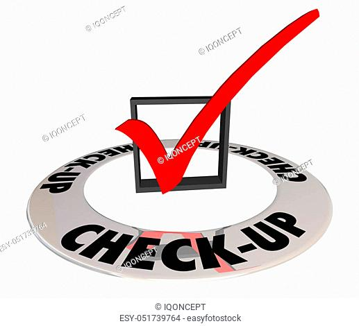 Check-Up Physical Evaluation Test Exam Mark Box 3d Illustration