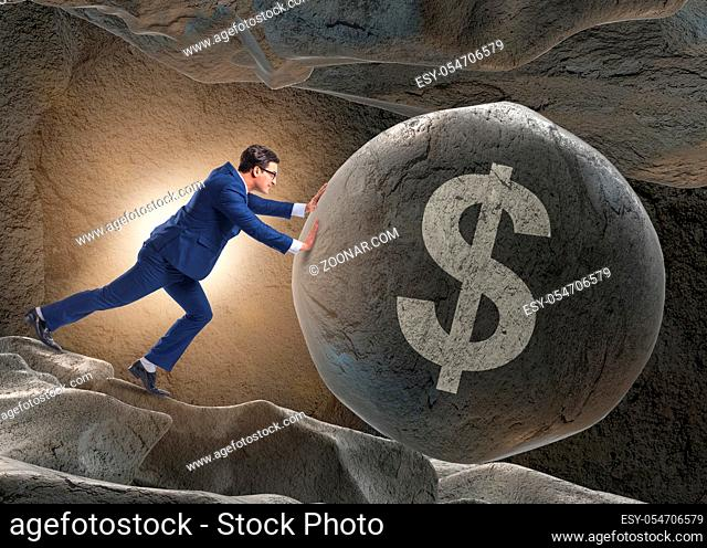 The businessman pushing dollar sign in business concept