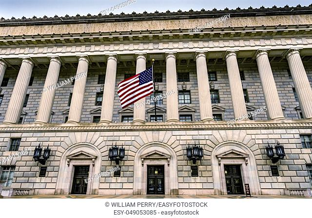 Main Entrance Herbert Hoover Building Commerce Department 14th Street Washington DC. Building completed in 1932. Across from the White House
