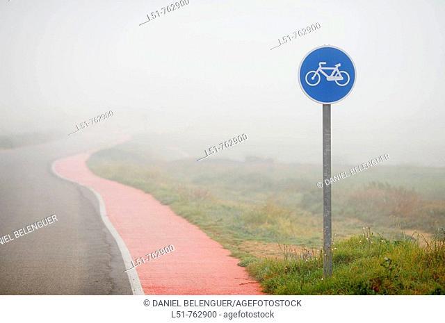 Path for cycling in Natural Park of Lagunas de la Mata y Torrevieja, Torrevieja, Alicante, Comunidad Valenciana, Spain, Europe
