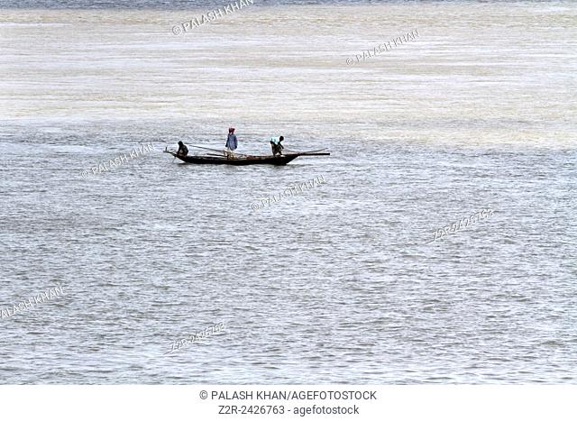 Dhaka 08 October 2013. On the bank of Padma river, fisherman catching hilsa fish. This river is the heart of Bangladesh as well as Indian sub-continent