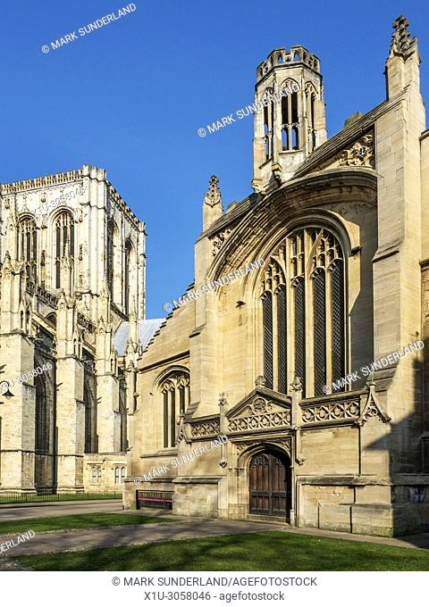 York Minster and St Michael le Belfry Church lit by spring sunshine York Yorkshire England