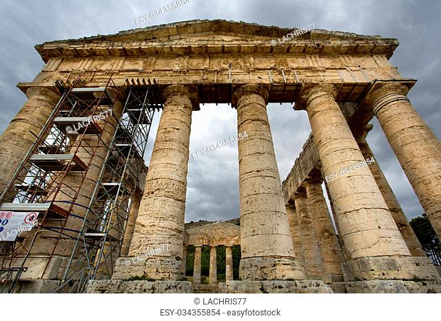 The greek temple of Segesta near Trapani in Italy