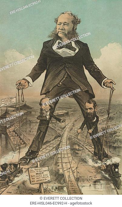THE MODERN COLOSSUS OF (RAIL) ROADS, 1879 political cartoon in PUCK MAGAZINE. A giant William Henry Vanderbilt, President of the New York Central Railroad