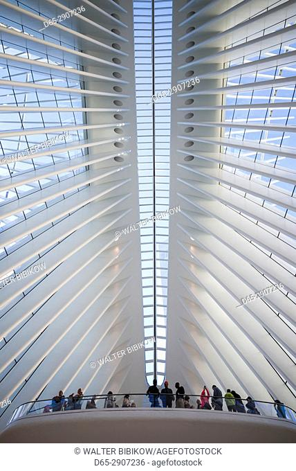 USA, New York, New York City, Lower Manhattan, The Oculus, World Trade Center PATH train station, designed by Santiago Calatrava, interior