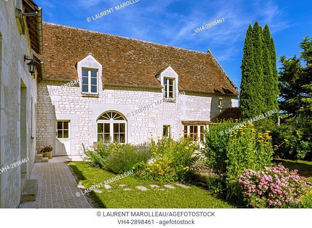 Typical House of Tufa Stone, La Milaudiere at Ligré, Chinon District, Indre-et-Loire Department, Centre-Val de Loire Region, Loire valley, France, Europe