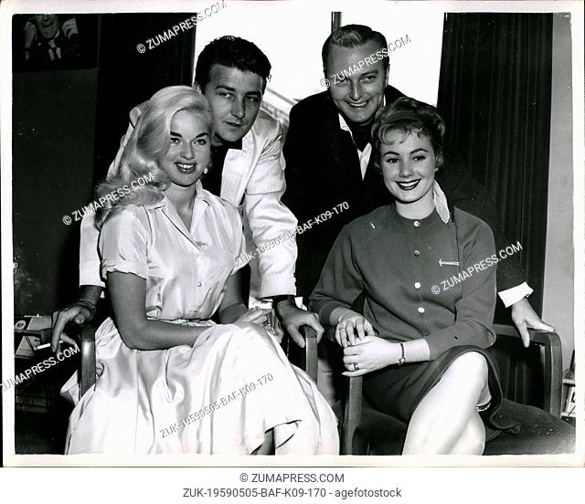 May 05, 1959 - Diana Dors Prepares For TV Show: Diana Dors and husband Dickie Dawson and other members of the Diana Dors TV Show next Saturday - were to be seen...