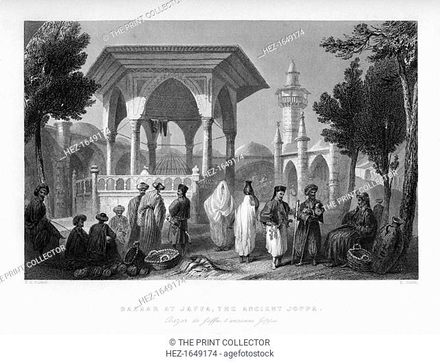 The bazaar at Jaffa, the ancient Joppa, Palestine (Israel), 1841. From Syria, the Holy land and Asia Minor, volume II, by John Carne, published by Fisher