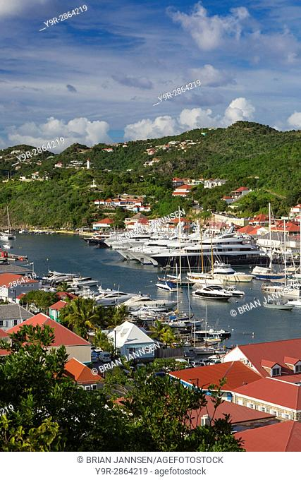 Boats crowd the marina in Gustavia, St Barths, French West Indies