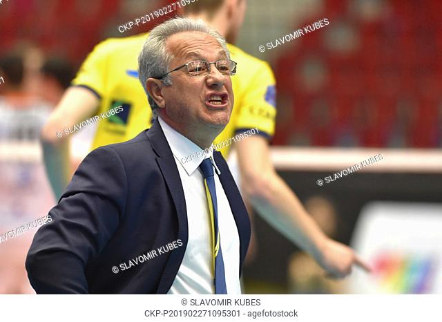 Julio Velasco, coach of Modena, is seen during the 6th round group B of volleyball Champions League match Karlovarsko vs Modena in Karlovy Vary, Czech Republic