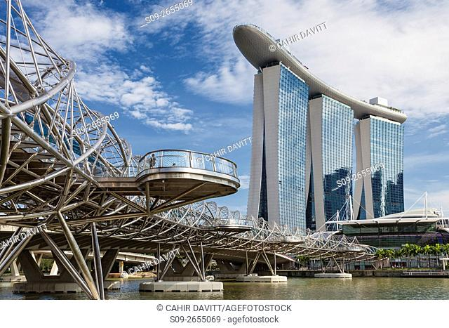 The Marina Bay Sands Hotel & Shopping Centre and the Helix Bridge, Singapore, viewed from the Youth Olympic Park, Downtown Core, Singapore