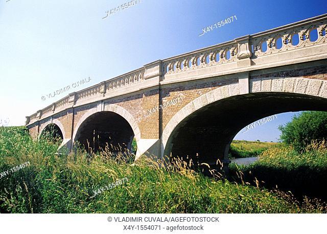 Bridge, constructed during baroque - art noveau period, over the river Cierna voda in Kralova pri Senci, Slovakia