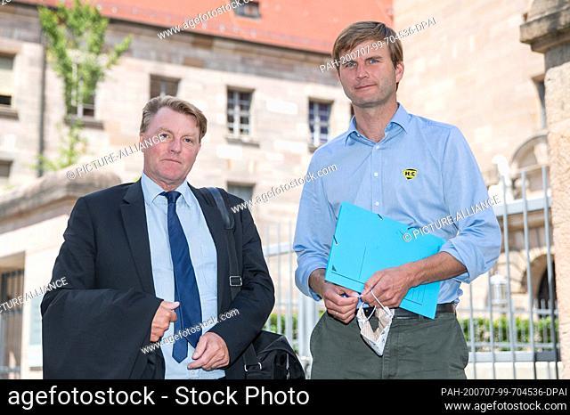 07 July 2020, Bavaria, Nuremberg: Hubertus Freiherr von Crailsheim (r) stands with his lawyer Ralf Bornhorst in front of the building of the Nuremberg-Fürth...