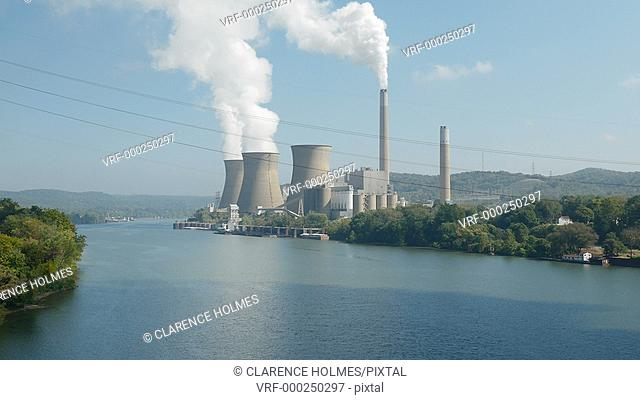 The Bruce Mansfield Power Station, a coal-fired power station owned and operated by FirstEnergy on the Ohio River near Shippingport, Pennsylvania