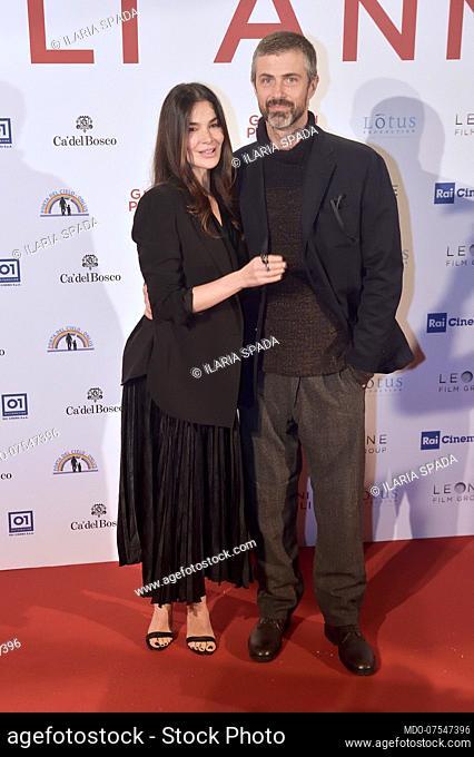 The Italian actress Ilaria Spada and the Italian actor Kim Rossi Stuart pose for the photocall at the presentation of the film Gli anni più belli
