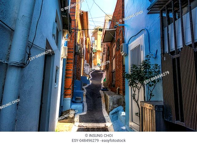 Huinnyeoul Culture Village narrow alleyways in busan, south korea. Huinnyeoul Culture Village is a famous coastal villa with the view of the ocean