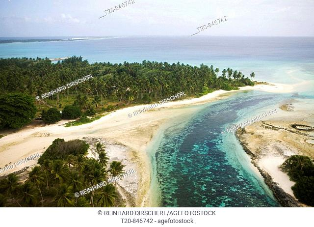 Aerial View of Marshal Islands, Marshall Islands, Ailinglaplap Atoll, Micronesia, Pacific Ocean