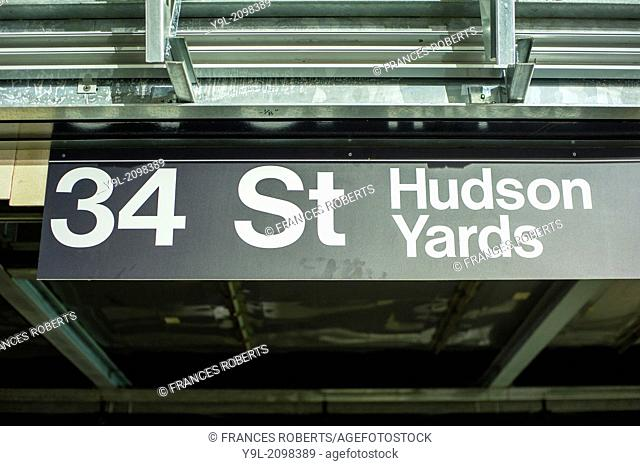 The new 34th Street-Hudson Yards terminal station on the 7 Subway line extension in New York. The new tunnel from Times Square