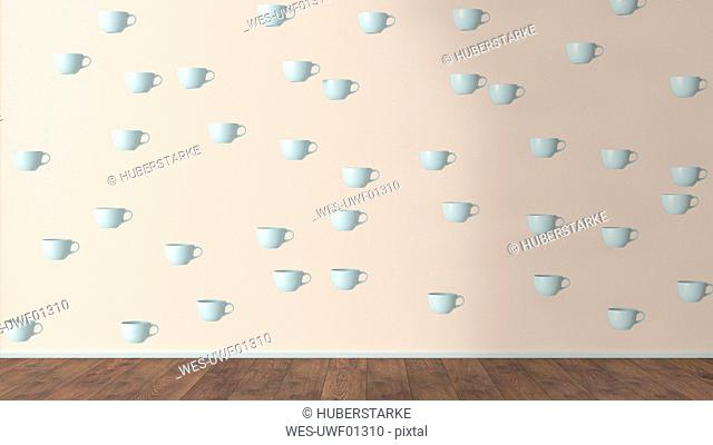 Wallpaper with cup pattern and wooden floor, 3D Rendering